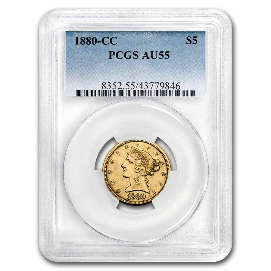 1880-CC $5 Liberty Gold Half Eagle - AU-55 PCGS